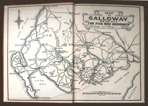 "Map of Dumfries & Galloway used as end paper in ""Five Red Herrings"""
